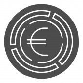 Labyrinth with euro coin solid icon, Investment decisions concept, labyrinth chart sign on white background, maze with euro icon in glyph style for mobile and web design. Vector graphics.