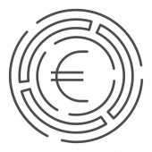 Labyrinth with euro coin thin line icon, Investment decisions concept, labyrinth chart sign on white background, maze with euro icon in outline style for mobile and web design. Vector graphics.