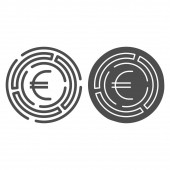 Labyrinth with euro coin line and solid icon, Investment decisions concept, labyrinth chart sign on white background, maze with euro icon in outline style for mobile and web design. Vector graphics.