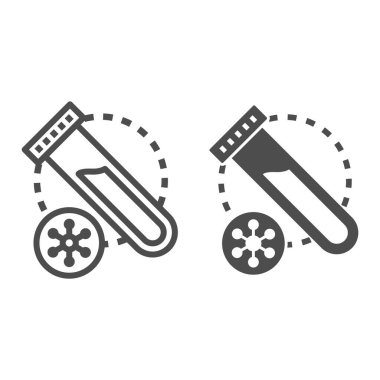 Virus sample for analysis line and solid icon, Medical tests concept, Plastic test tube with blood sign on white background, Test tube and virus disease cells icon in outline style. Vector graphics icon