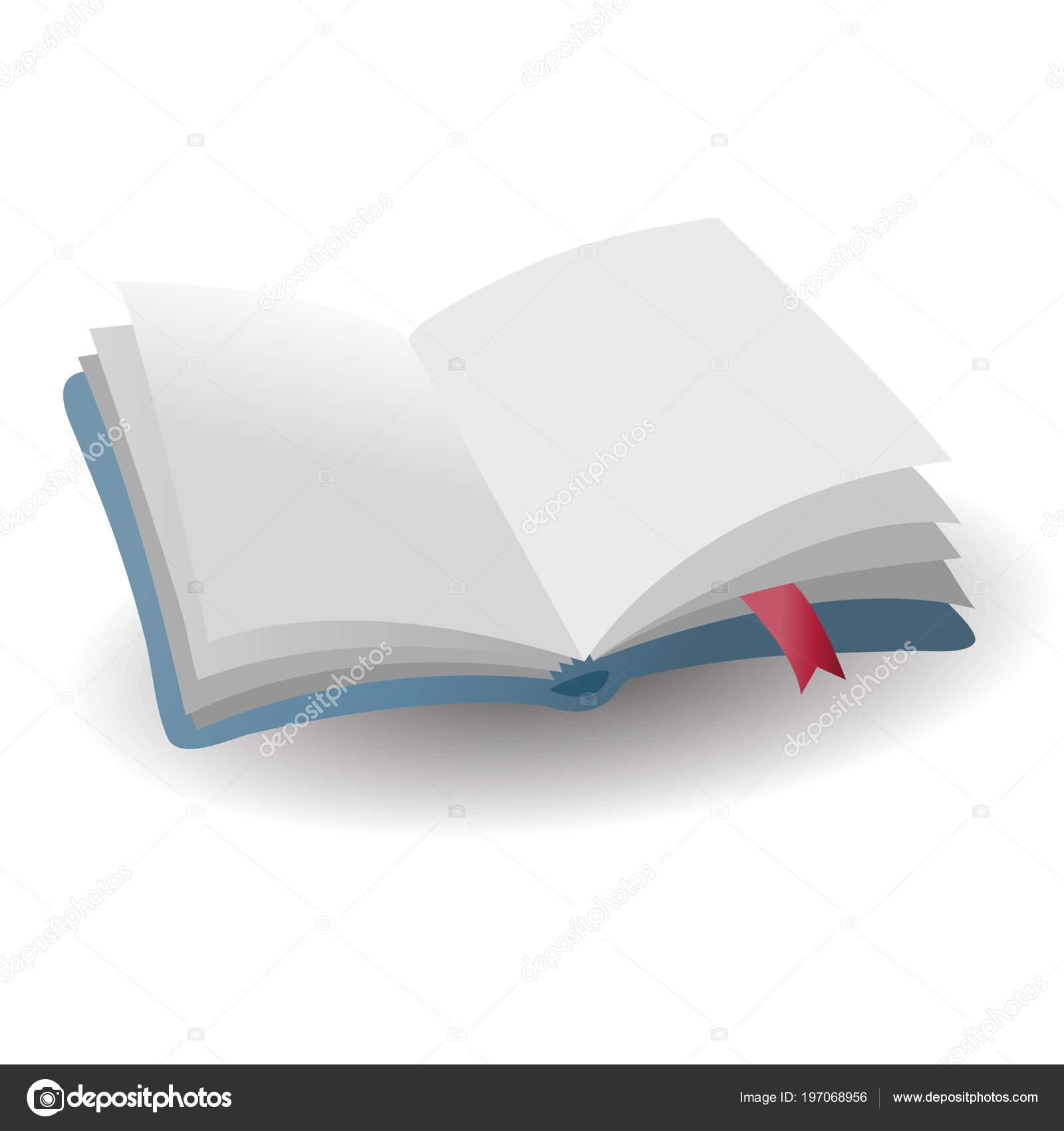 Icone Realiste Livre Bleu Vide Ouvert Avec Signet Rouge Avec