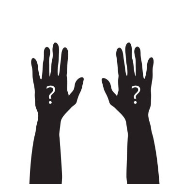 black hands up with white question mark, unknown or asking concept, simple vector