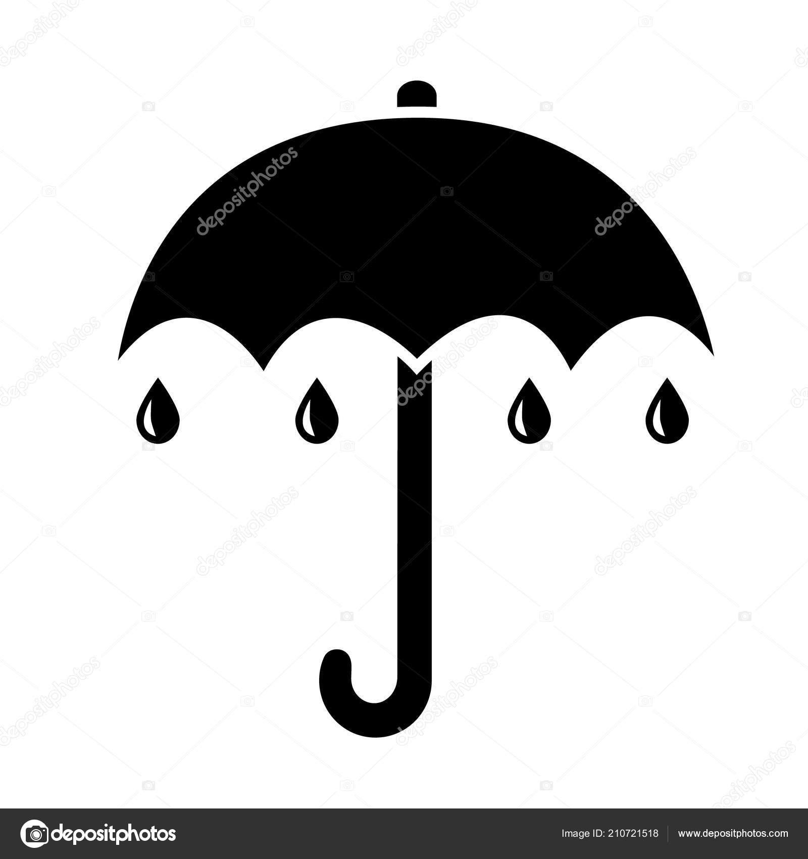 ec5b5411a Umbrella Icon Simple Black Flat Rain Drops — Stock Vector © henkeova ...