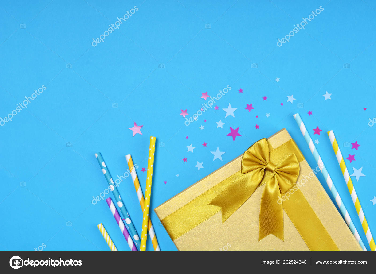 Golden Shiny Classic Gift Box Satin Bow Cocktail Straws Confetti