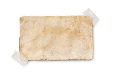 Mockup of empty old vintage yellowed paper sheet with scotch tape isolated on white background