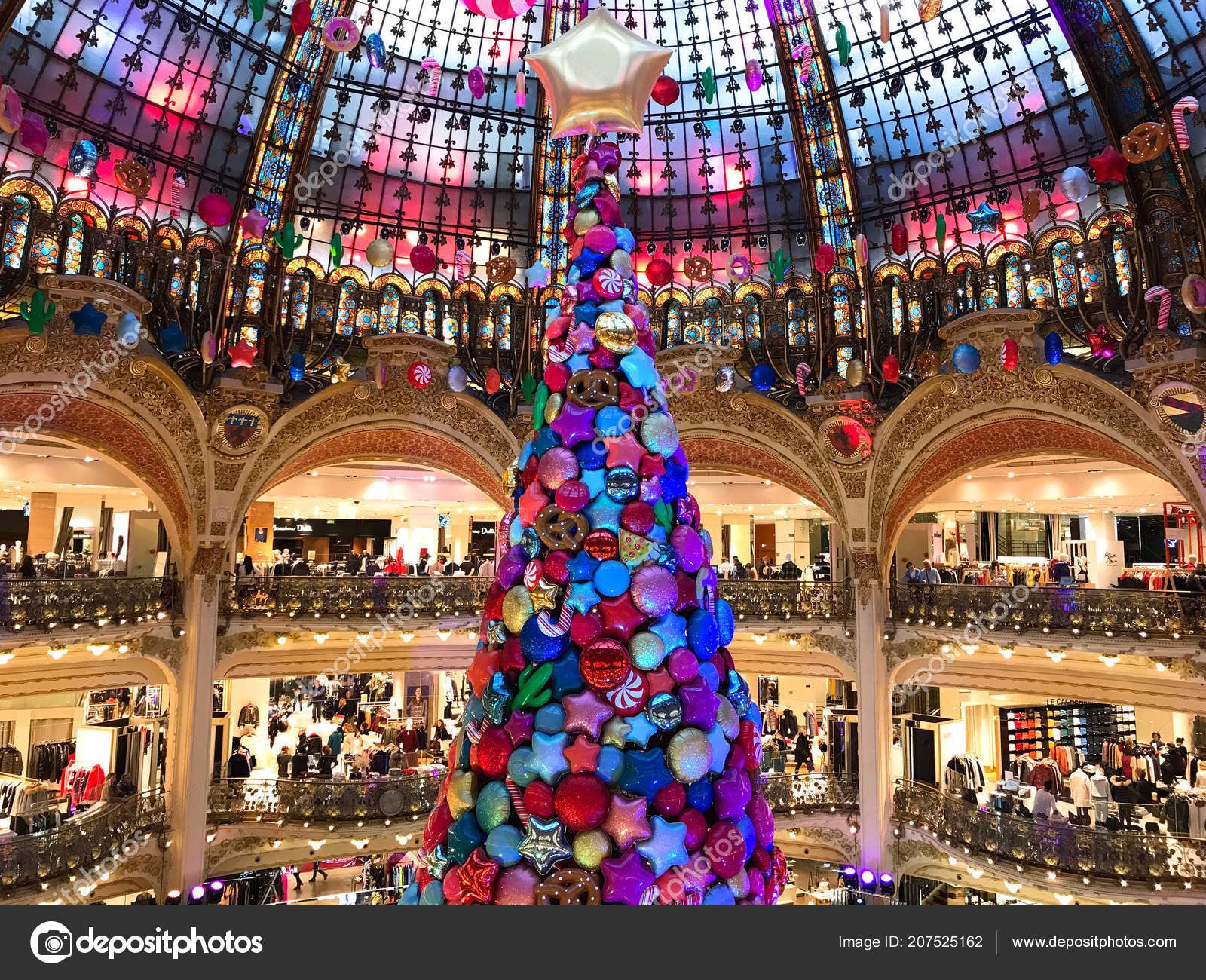 Christmas Paris France.Paris France November 2017 Giant Christmas Tree Decoration