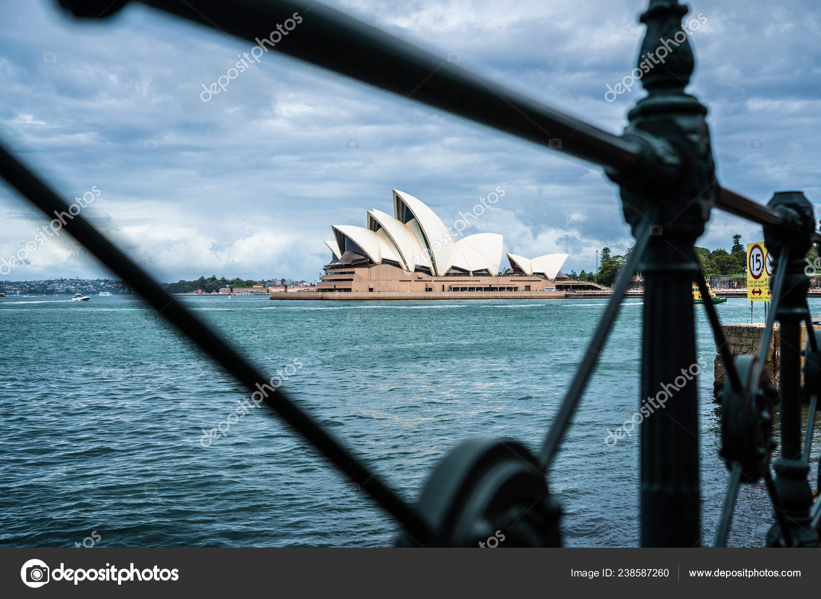 Distant View Sydney Opera House Old Barrier Framing Nsw Australia