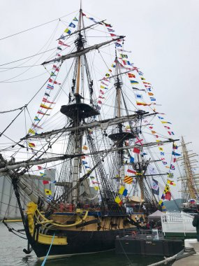 Three-masted frigate of the French Navy called the Hermione at t