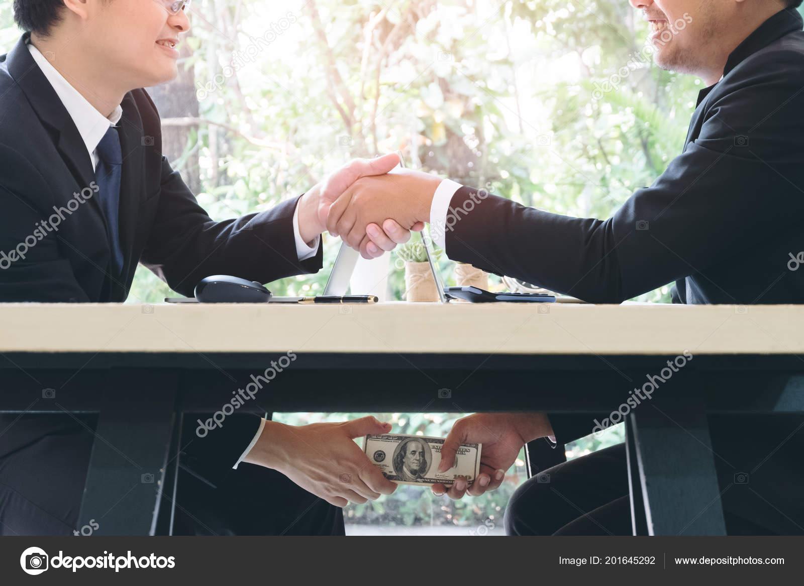 Tricky Businessman Shaking Hand Make Agreement Taking Bribe
