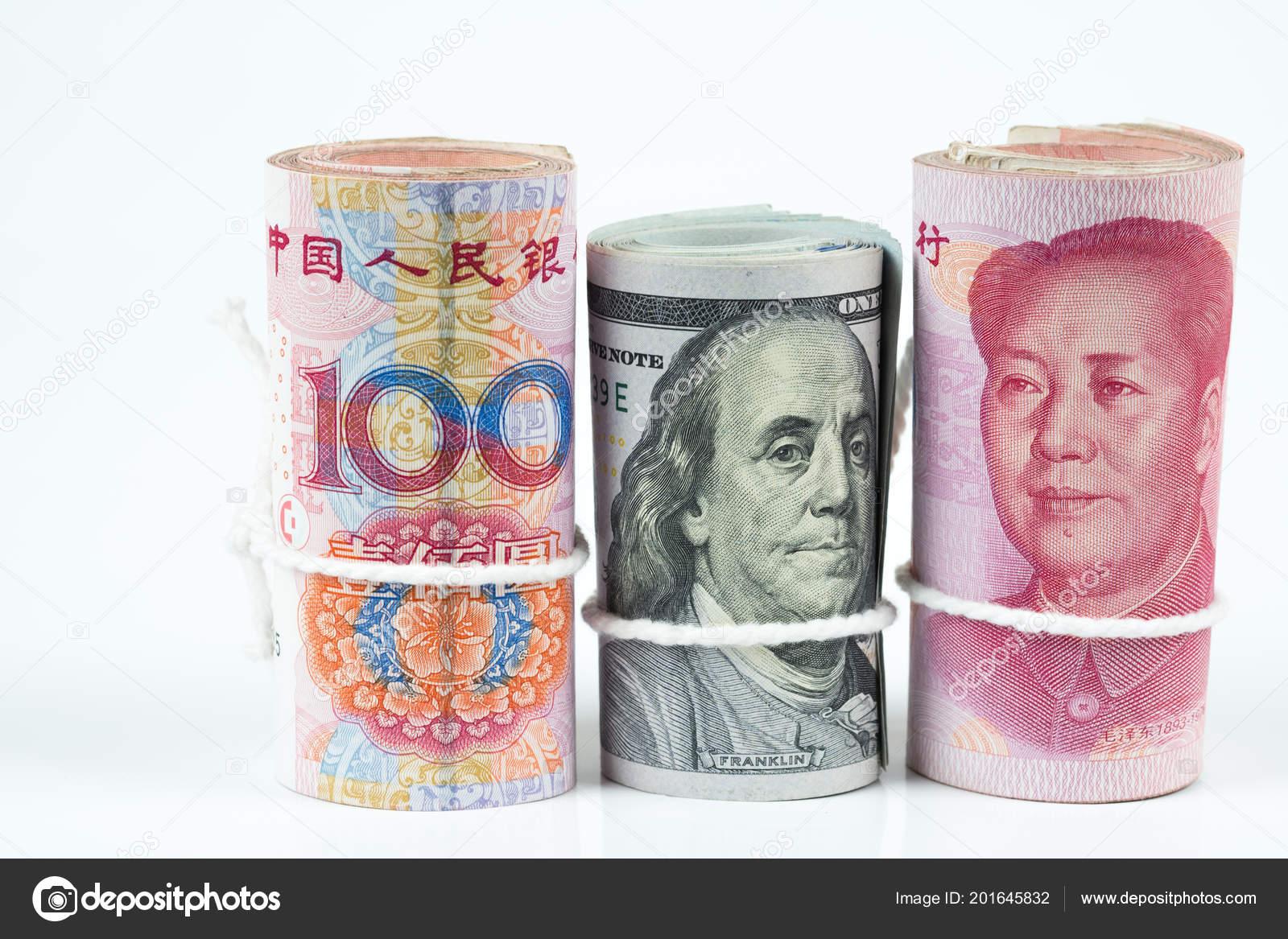 Rolls One Hundred Dollar Bills Chinese Yuan Banknotes White Robe Stock Photo C Cherayut000 201645832