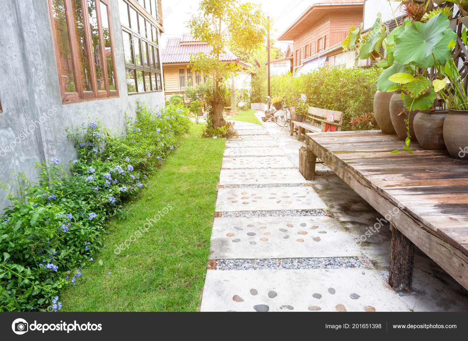 Jardin Paysager Voie Pierre Dans Jardin Tropical Pierre Marche Voie ...