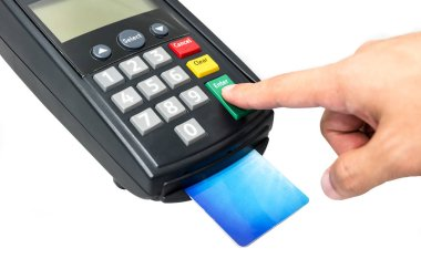 Man hand press enter button at credit card machine making payment for goods and service isolated on white background with clipping path.