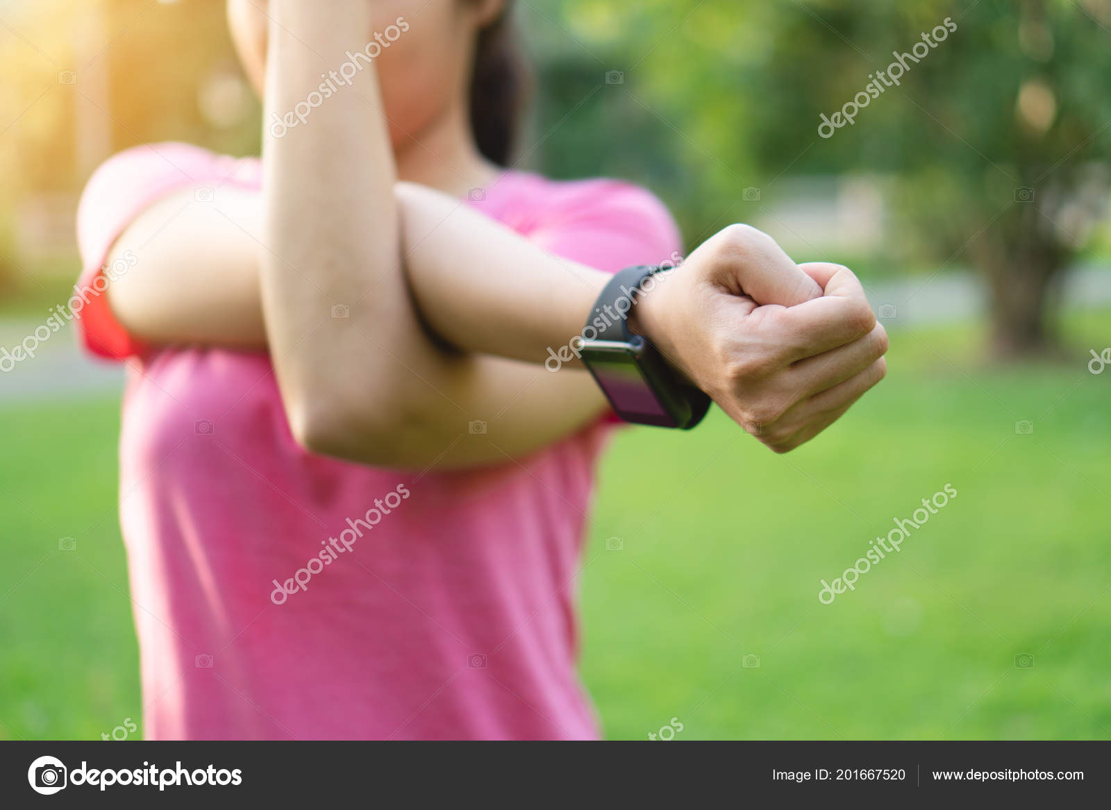 Young Asian Fitness Woman Stretching Arms Tricep Shoulders Exercise