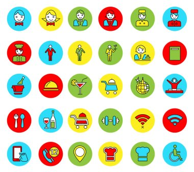 Set of linear colored icons of restaurant items