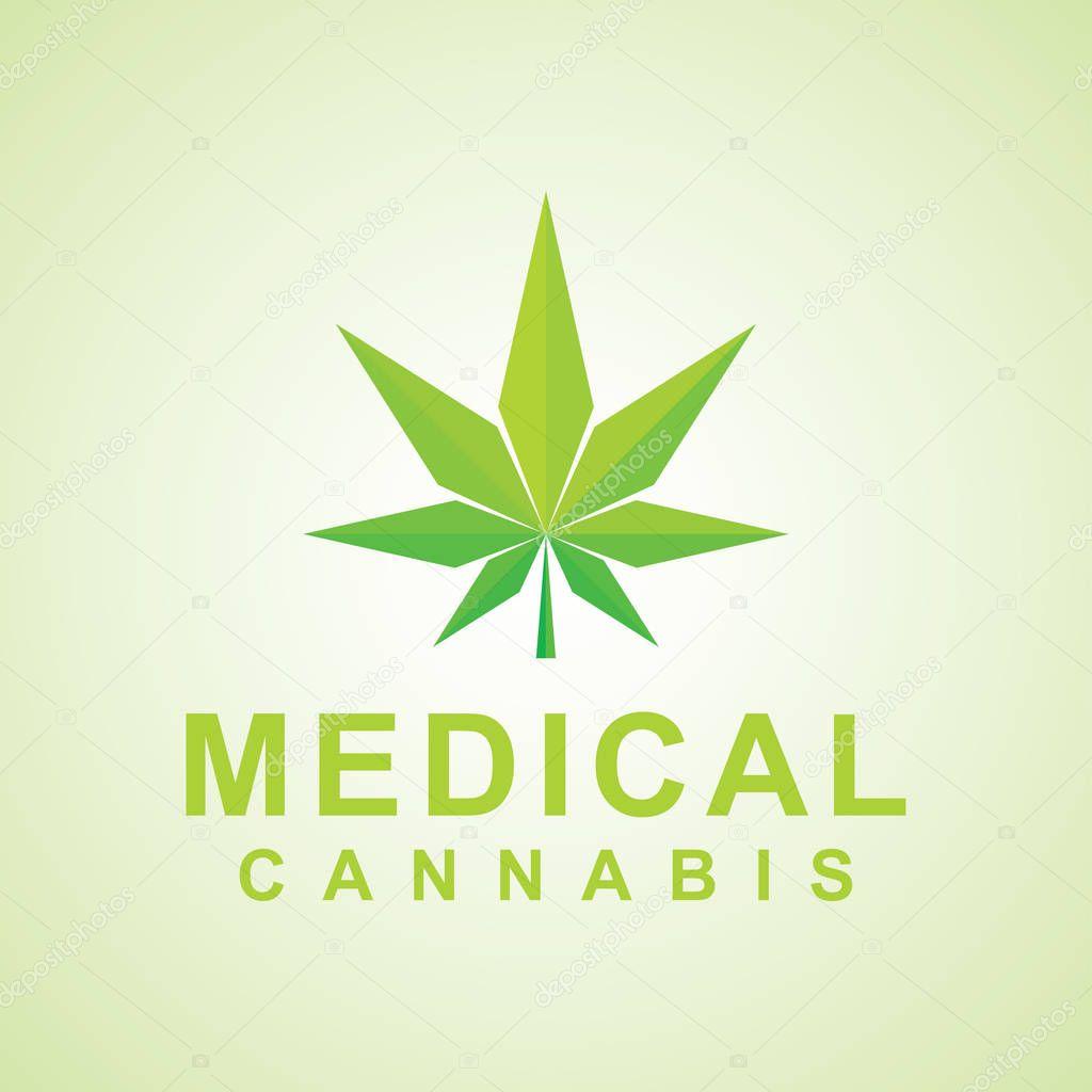 design of natural medical, cannabis logo. green color vector icon