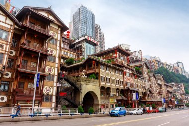 CHONGQING,CHINA-OCTOBER 19,2017: Hongyadong complex in the shape of a large ancient building. Inside, there are shops, restaurants, hotels, souvenir shops, etc. And good view point