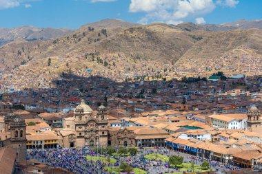 Jesuit Church and Main Square of Cusco from San Cristobal church, Peru
