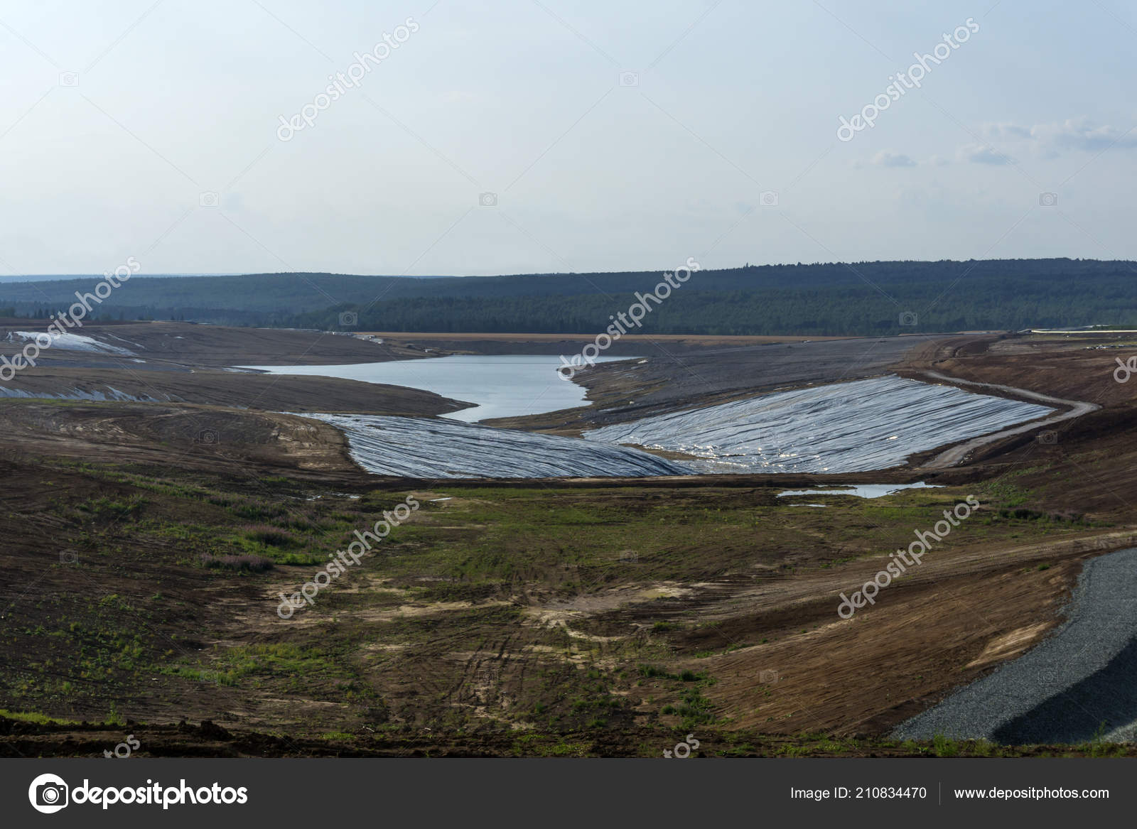 View Industrial Tailing Pond Construction Landscape