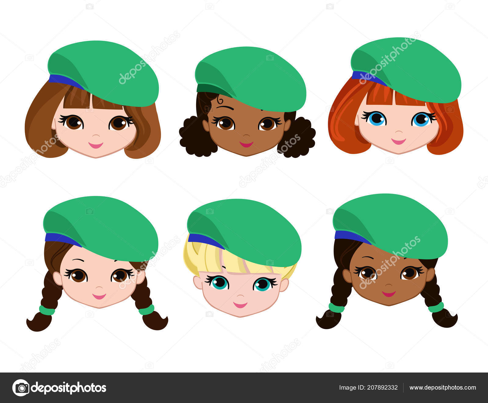 set cartoon girls scouts faces cartoon child face icon stock
