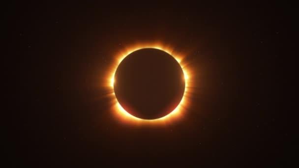 Rotující světlé Twin vzplála zatmění slunce s paprsky světla nad hvězdnou oblohu smyčka