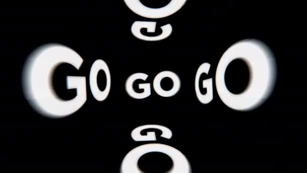 A frenetic and high energy looping graphic of READY SET GO! over black background and analog glitch effects.
