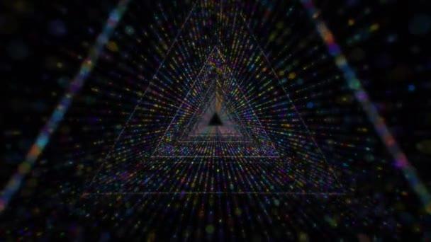 Modern multikolor részecske absztrakt háromszög alagút hurok háttér
