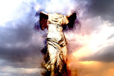 Watercolor, The Winged Victory of Samothrace. Victory of Samotracia Ancient Art