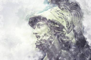 Watercolor, General Pericles, Greek sculptures over clouds background
