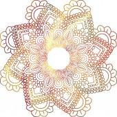 Photo mandala mehndi ethnic paisley buta hindu oriental ornament, red curl, floral motif