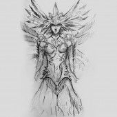 Fotografie zodiac, drawing of warrior with armor, tattoo drawing on gray background