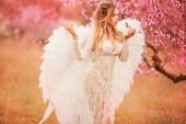Krásná a obrovská žena s křídlama z bílého anděla