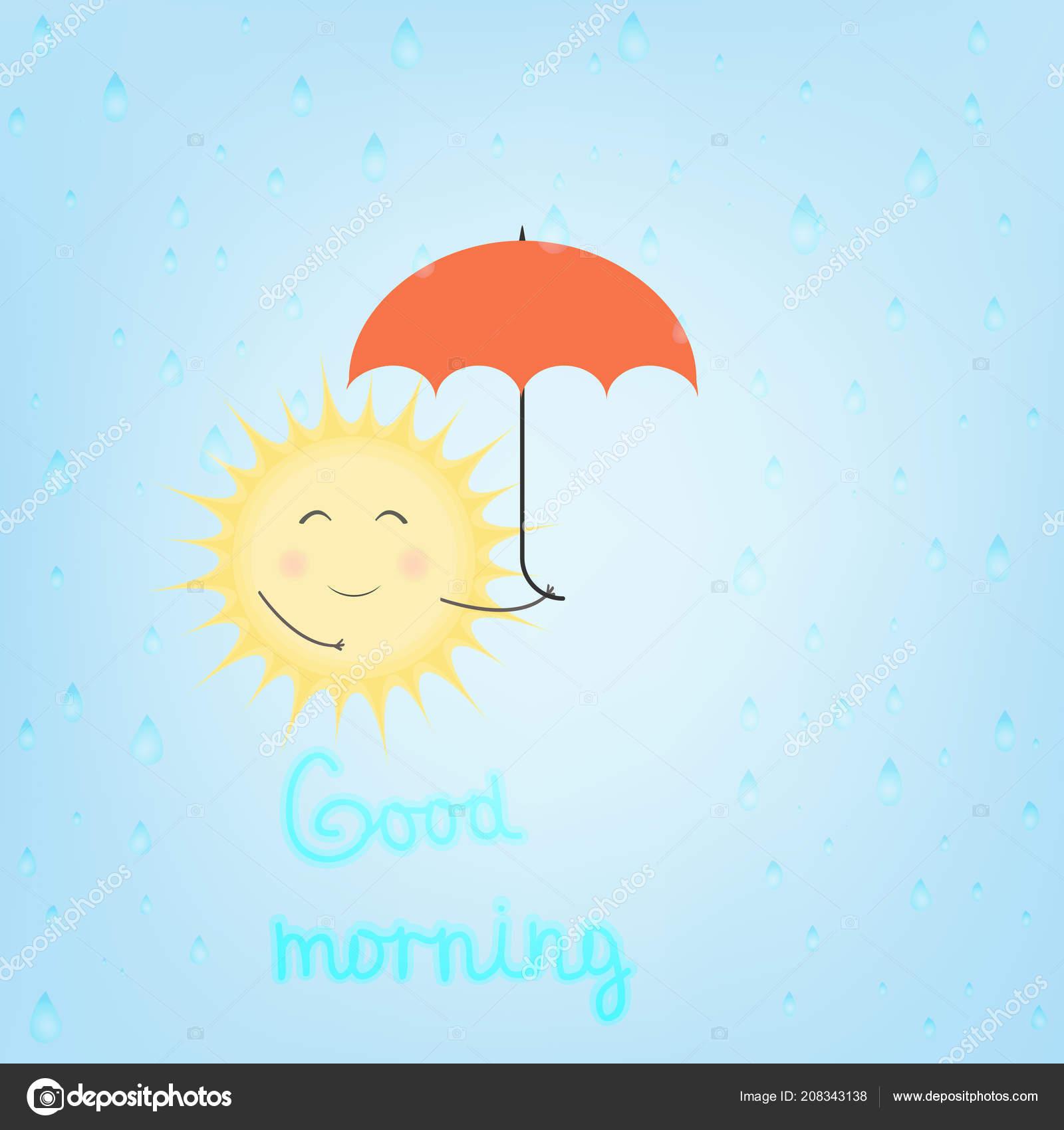 Illustration Vectorielle Soleil Avec Parasol Sous Pluie