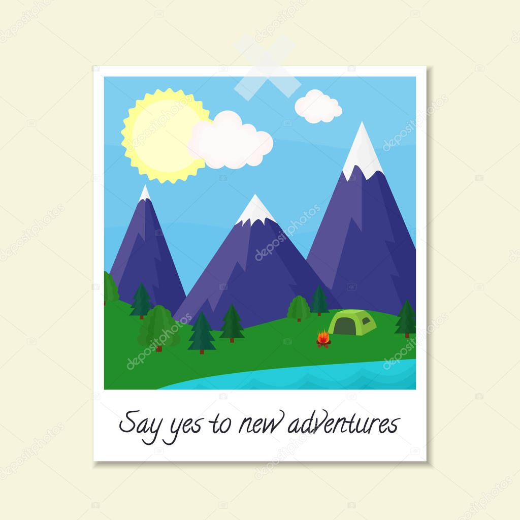 Bright vector illustration with polaroid photo image mountains, trees, lake, tent, fire and text