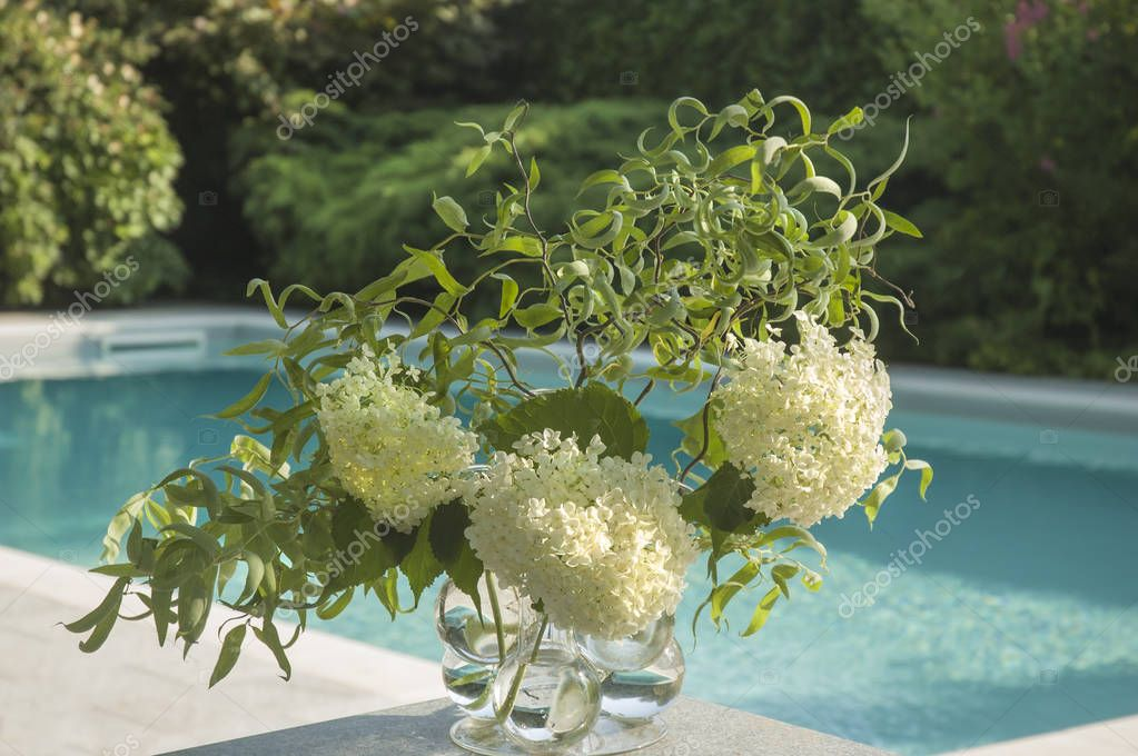 Flowers in a Glass Vase on the Edge of a Table by the Pool