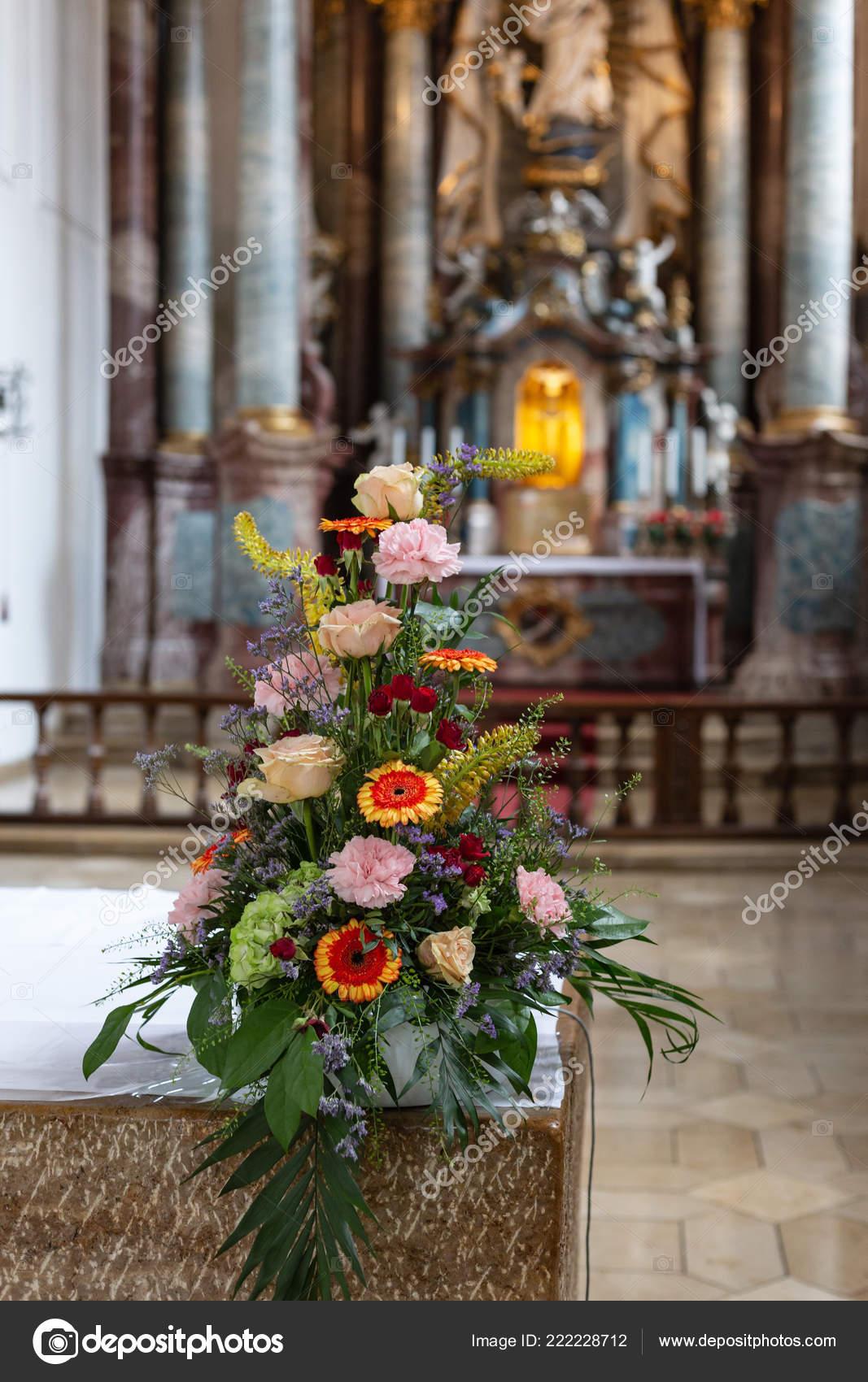 Church Altar Decoration With Flowers Flower Bouquet Church Altar Historical City South Germany Stock Photo C Rudolfgeiger 222228712