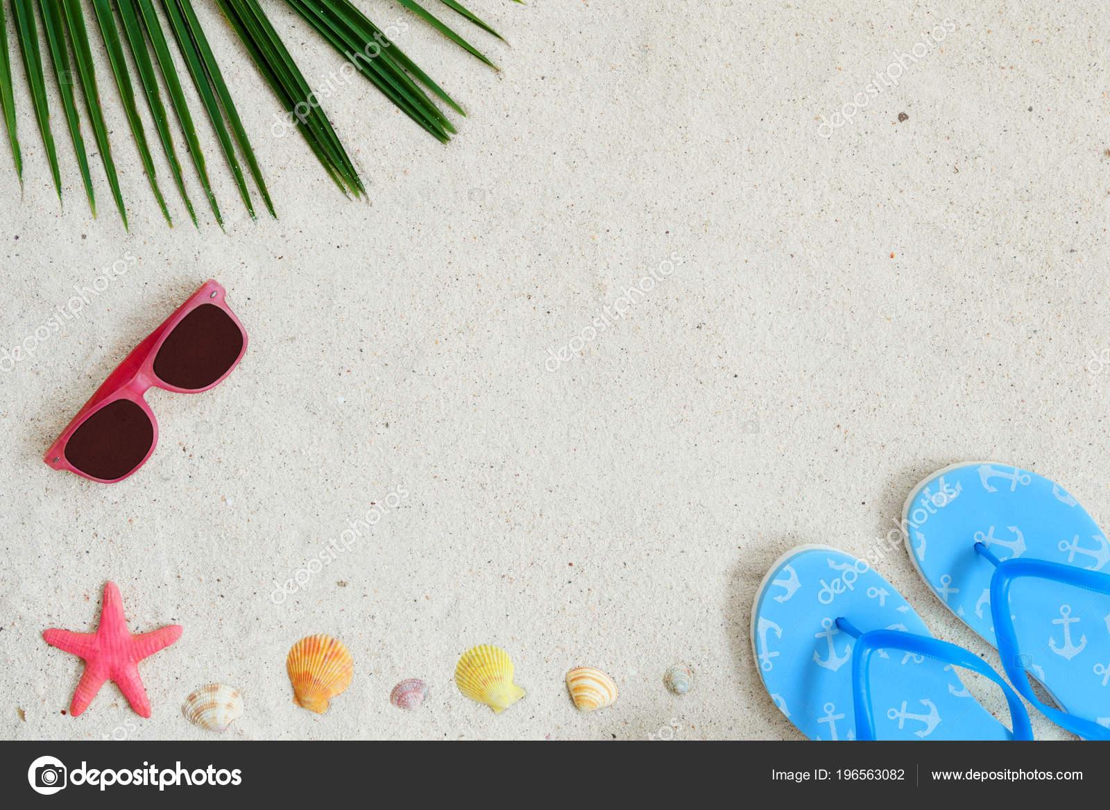b7bff047e9228 Beach Background Top View Beach Sand Coconut Leaves Sunglasses ...