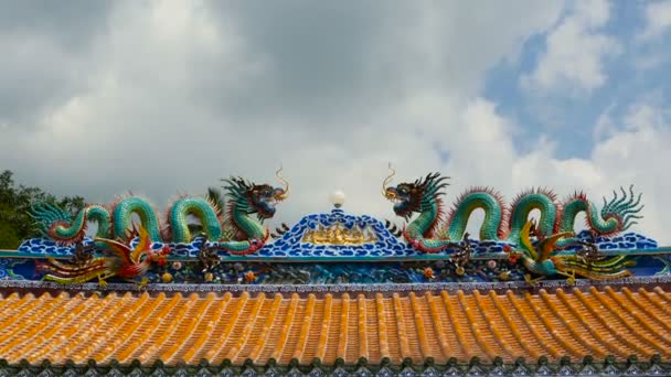 Religious colorful sculpture of Dragon. Shrine in chinese traditional style decorated with ornaments