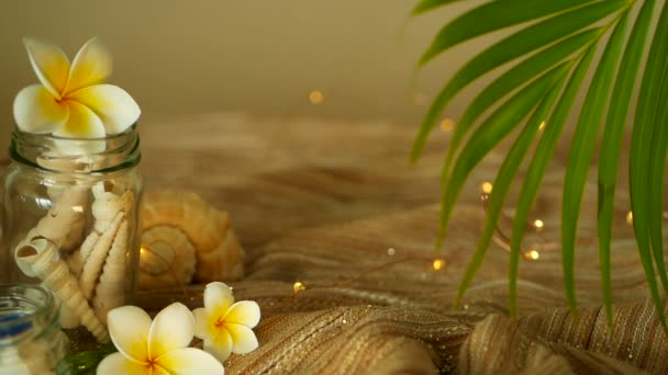 Glass jar filled with seashells, corals, marine items with bokeh lights, plumeria frangipani flowers for decor