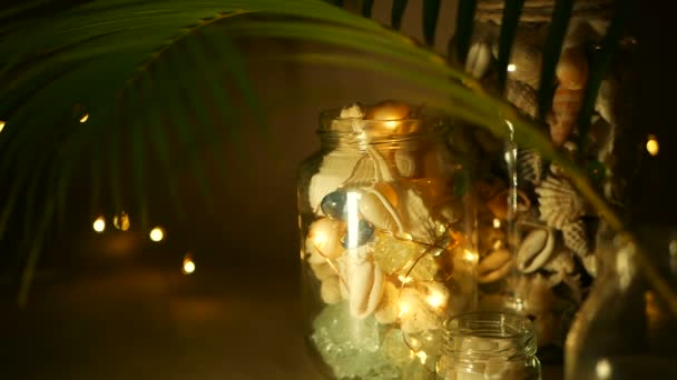 Glass Jar Of Tropical Shells For Home Decor Marine Style Accessories Beach Themed Interior Decorating Stock Footage
