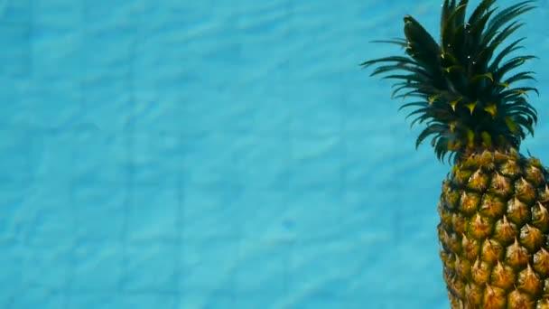 Ananas schwimmt im blauen Wasser im Schwimmbad. gesunde biologische Rohkost. saftige Früchte. exotischer tropischer Hintergrund