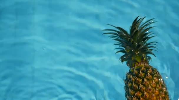 Ananas plovoucí v modré vody v bazénu. Zdravé syrové organické potraviny. Šťavnaté ovoce. Exotické tropické pozadí