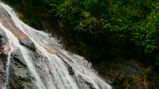 Jungle paradise landscape of tropical country. Waterfall cascade in green rain forest. Motion of water flow from cliff