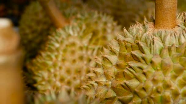 Ázsiai királya gyümölcsök Durian van a számláló az éjszakai piac, Thaiföld