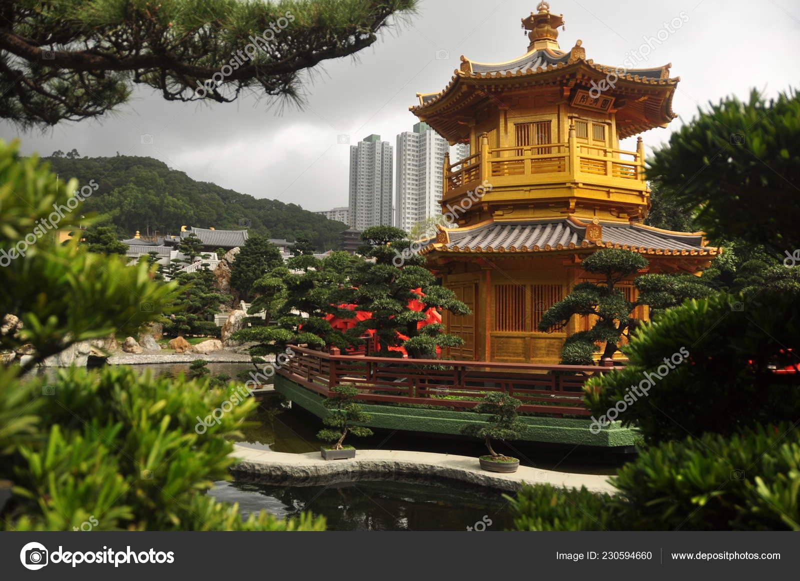 beautiful oriental garden city view golden oriental tower