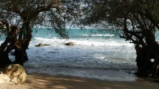 Fák, és a tengerre. Hullámzó mögött a fák Ko Phangan napsütéses napon Thaiföld fenséges kék tenger. Egzotikus trópusi Paradise Beach.