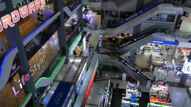 BANGKOK, THAILAND - 18 DECEMBER 2018 Pantip plaza. From above view of amazing contemporary modern mall with electronics store and bright illumination