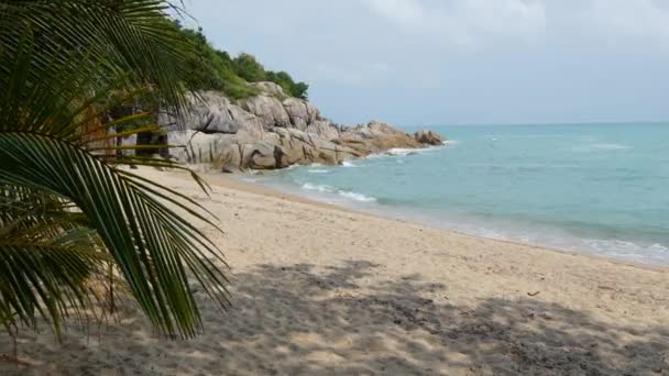 Tropical Paradise exotic white sand beach washed by blue calm sea. Sandy shore with green coconut palms under cloudy sky. idyllic landscape. holiday concept. Koh Samui, Phangan, Guys bar beach.