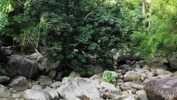 Varázslatos táj esőerdőkből és folyókból sziklákkal. Vad növényzet, mély trópusi erdő. Dzsungel fák felett sziklás zuhatagok. Gőz kő kaszkádok folyik keresztül egzotikus erdő drón kilátás
