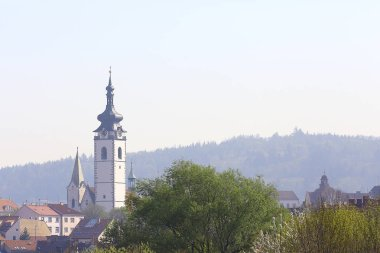 antique architecture of Catholic cathedral in Prague, Czech republic