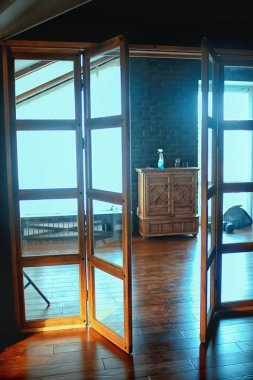 house interior, partition glass door